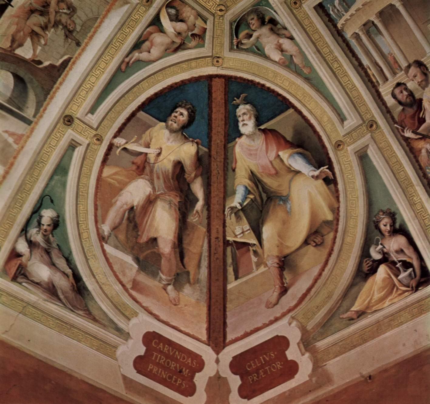 Аллегорический цикл фресок (Политические добродетели) из Палаццо Пубблико в Сиене. Карунд Тирский и Целий Претор, Беккафуми Доменико