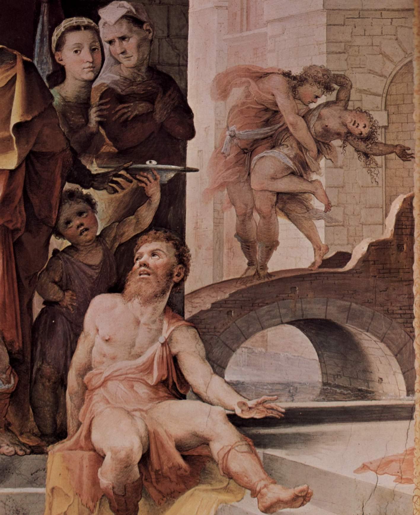 Аллегорический цикл фресок (Политические добродетели) из Палаццо Пубблико в Сиене. Жертва Селевкия из Локриды. Деталь, Беккафуми Доменико