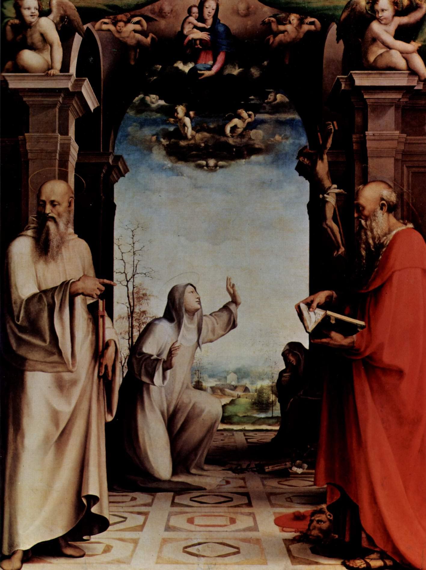 Св. Екатерина со стигматами, со св. Бенедиктом и св. Иеронимом, створки алтаря 1, Беккафуми Доменико