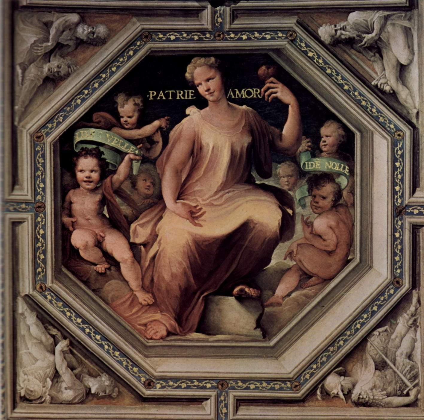 Аллегорический цикл фресок (Политические добродетели) из Палаццо Пубблико в Сиене. Милосердие (Caritas), Беккафуми Доменико