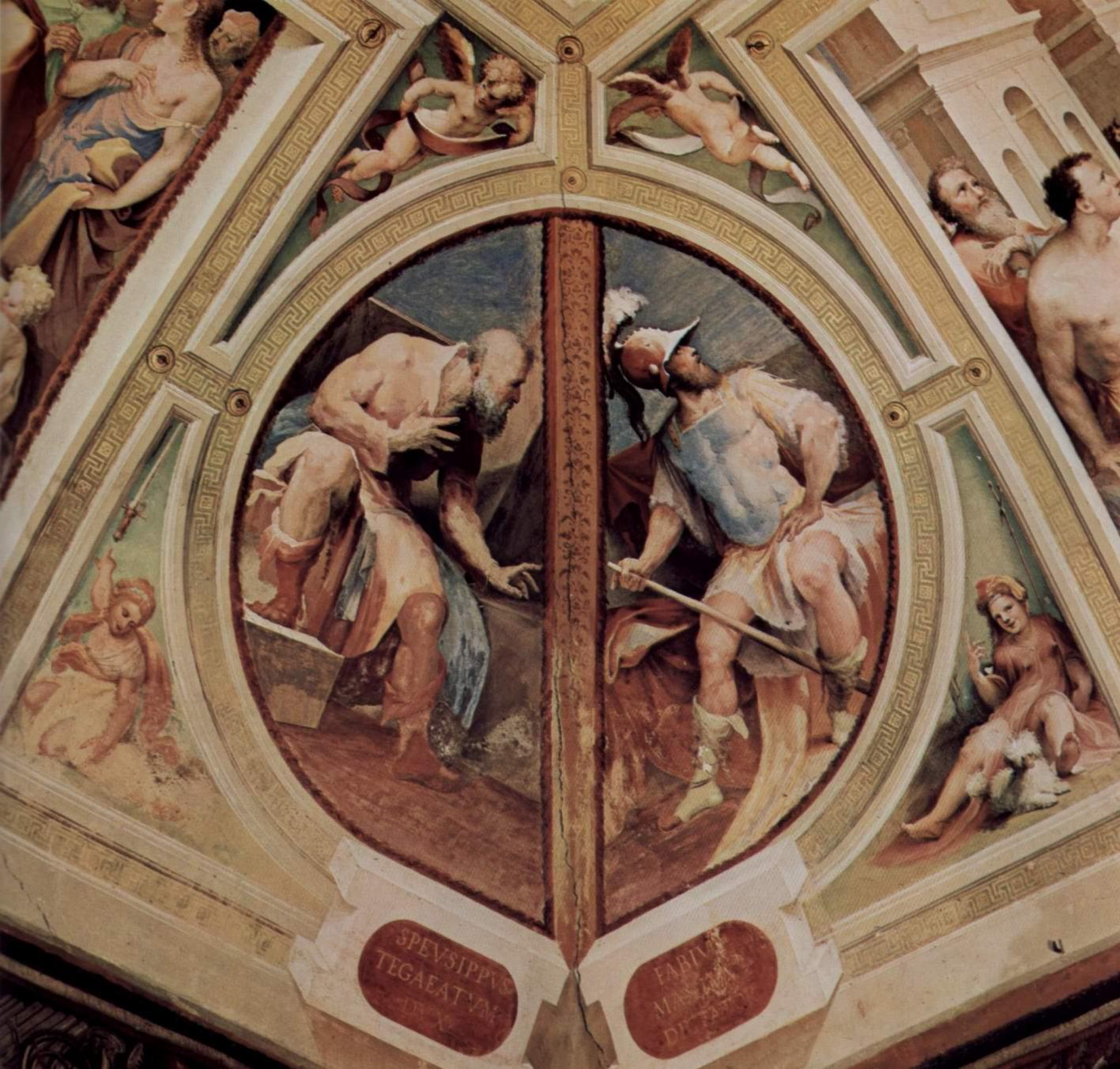 Аллегорический цикл фресок (Политические добродетели) из Палаццо Пубблико в Сиене. Спевсипп Тегеат и Фабий Великий, Беккафуми Доменико