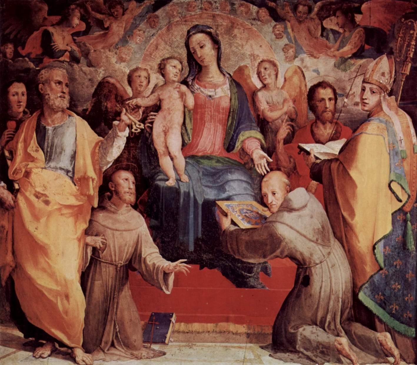 Алтарь в капелле св. Бернардина в Сиене, центральная часть  Мадонна на троне, Беккафуми Доменико