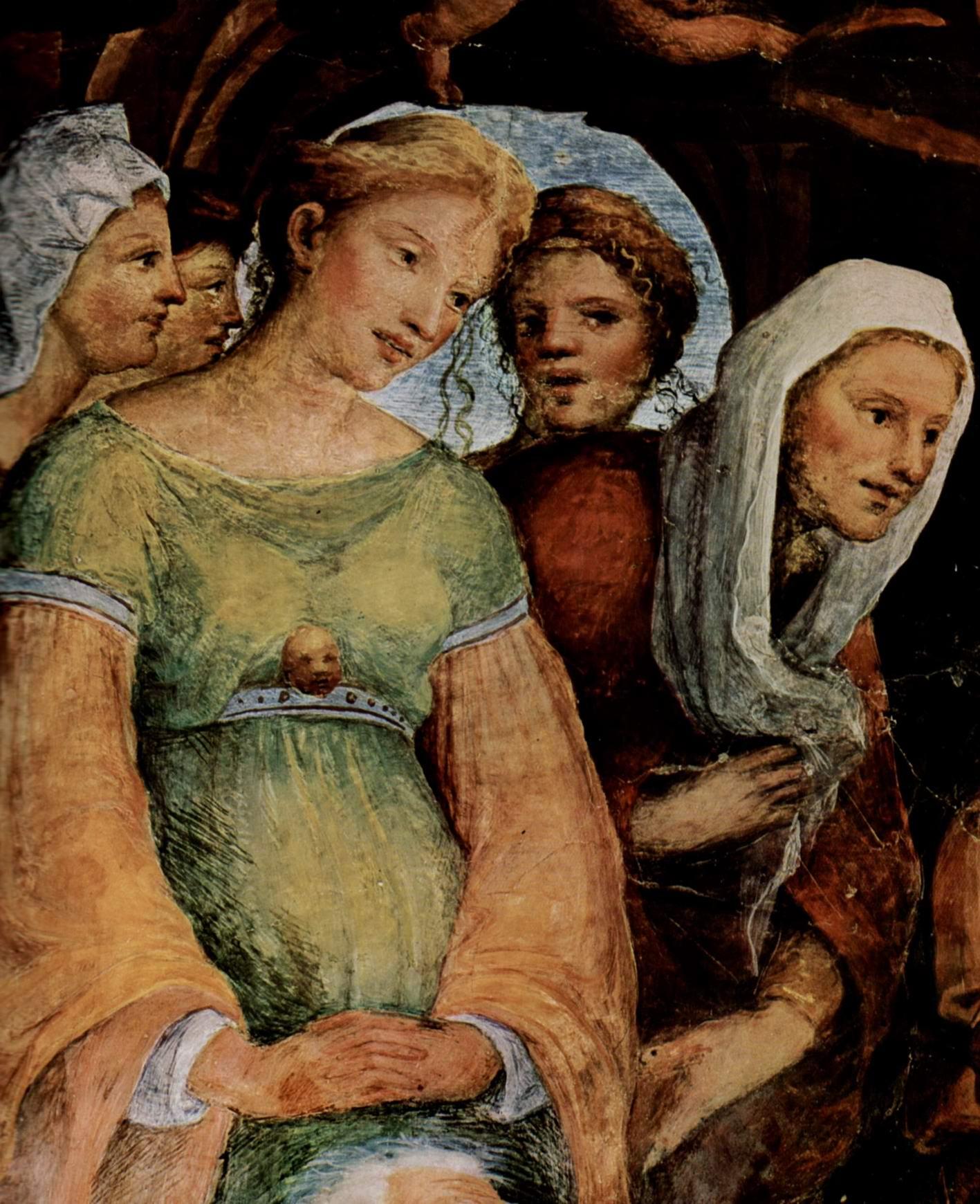 Фрески в капелле св. Бенедикта в Сиене, Смерть Марии. Деталь, Беккафуми Доменико