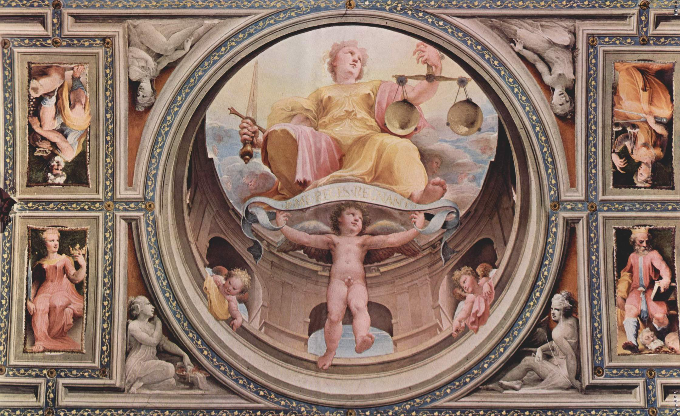 Аллегорический цикл фресок (Политические добродетели) из Палаццо Пубблико в Сиене. Юстиция (Justizia), Беккафуми Доменико