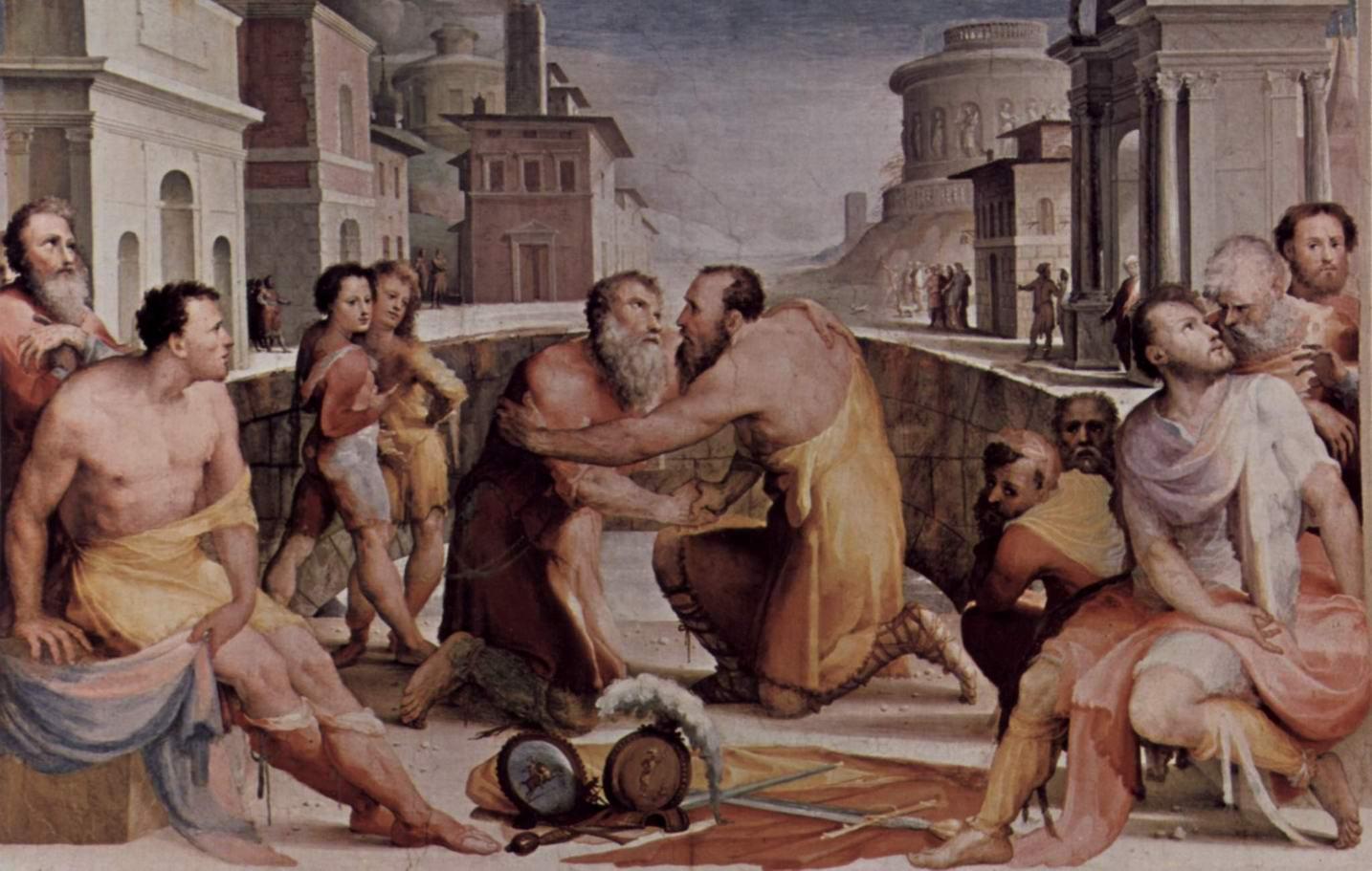 Аллегорический цикл фресок (Политические добродетели) из Палаццо Пубблико в Сиене. Примирение Эмилия Лейда и Флавия Флакка, Беккафуми Доменико