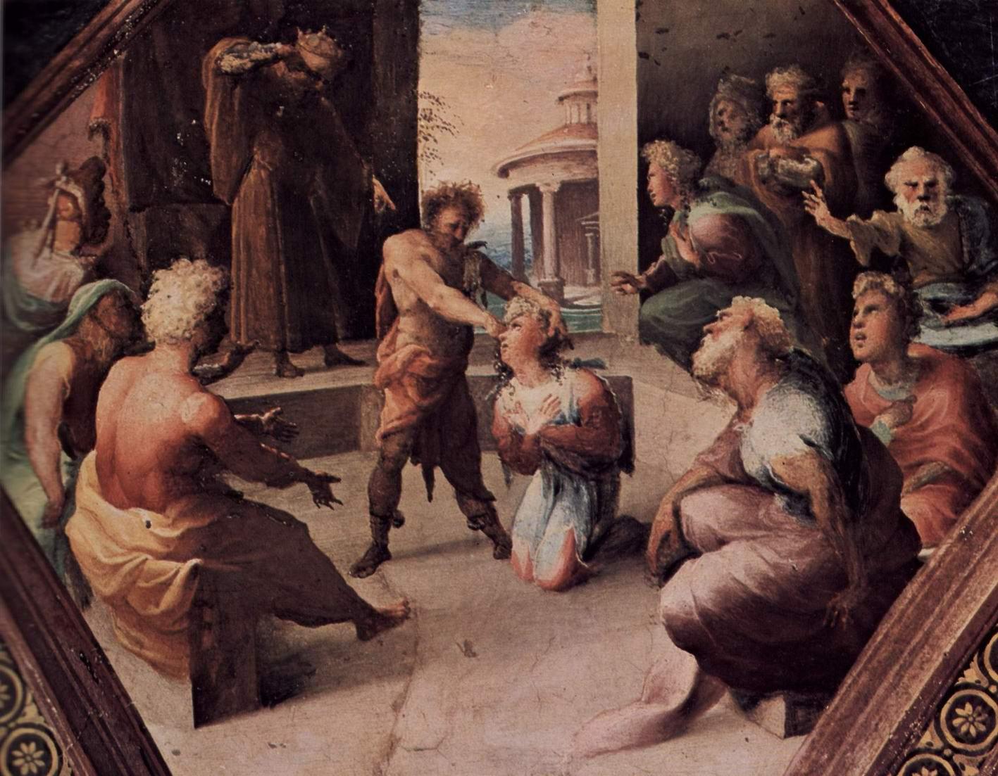 Фрески палаццо Бинди Сегарди, Жертва Селевкия из Локриды, Беккафуми Доменико