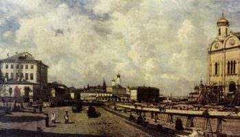 Вид храма Христа Спасителя с Пречистенки в Москве