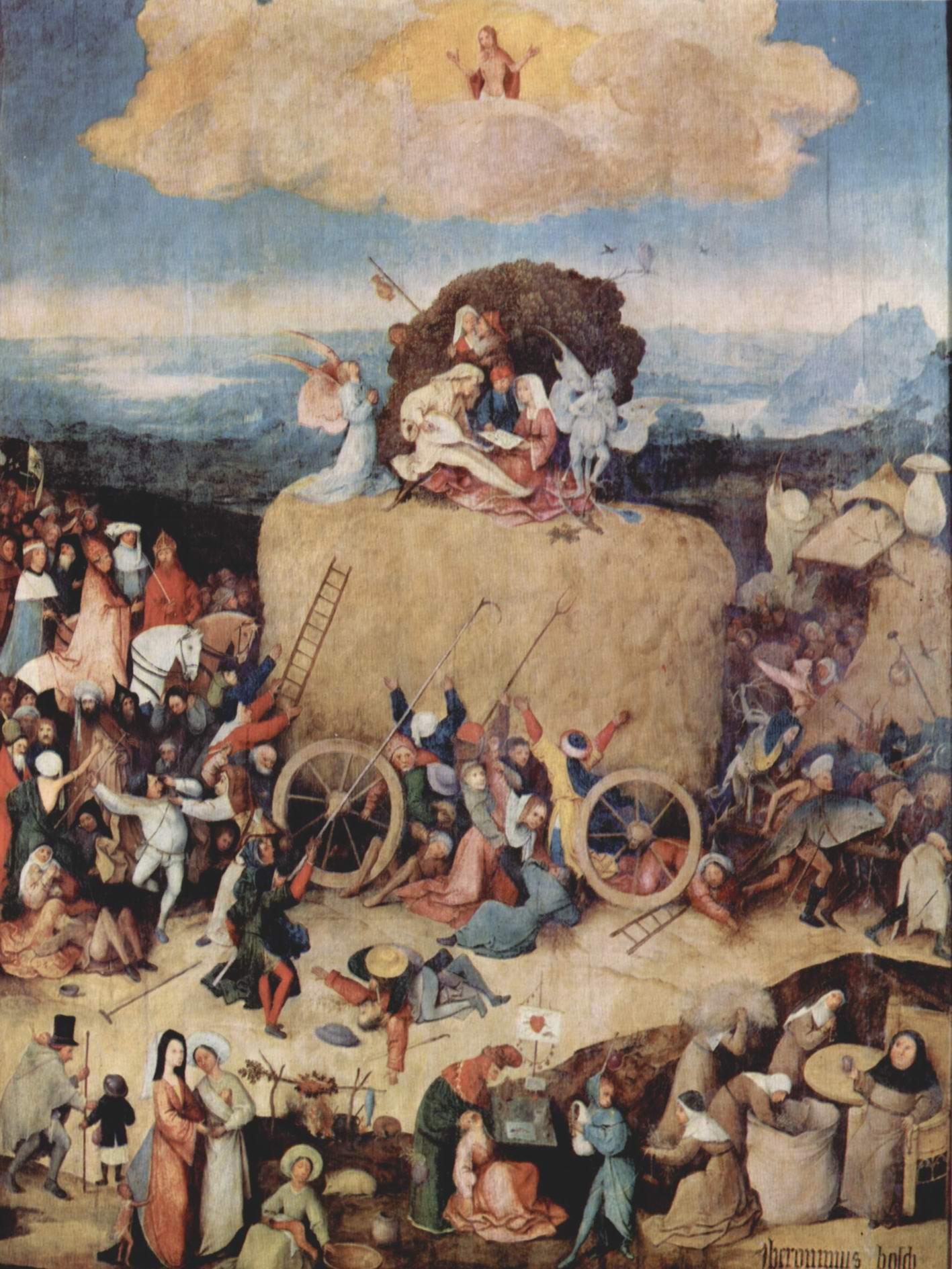 Воз сена, триптих, центральная часть  воз сена, Босх Иероним