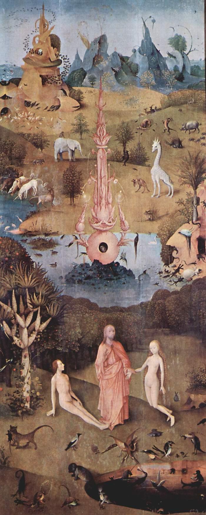 Сад земных наслаждений, левая створка  Творение, Босх Иероним