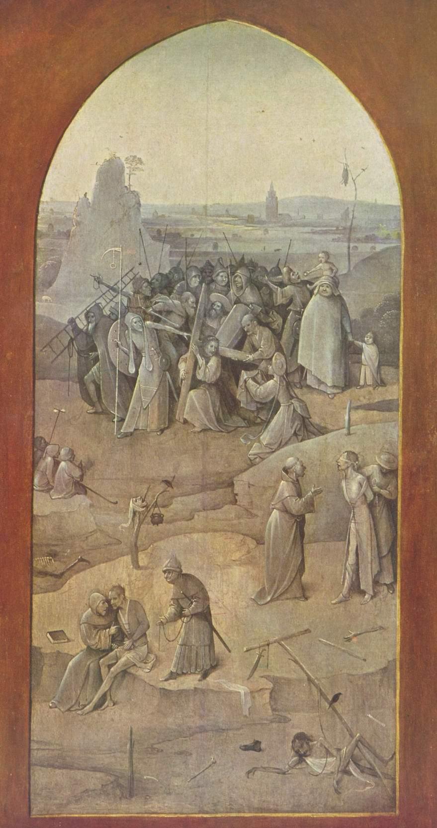 Искушение святого Антония, триптих, оборотная сторона правой створки  Несение креста, Босх Иероним