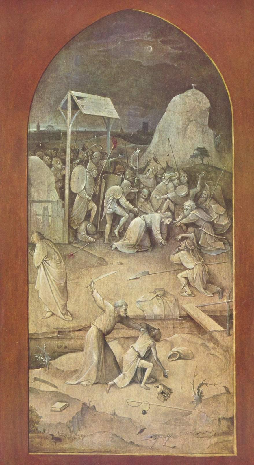 Искушение святого Антония, триптих, оборотная сторона левой створки  Взятие Христа под стражу, Босх Иероним