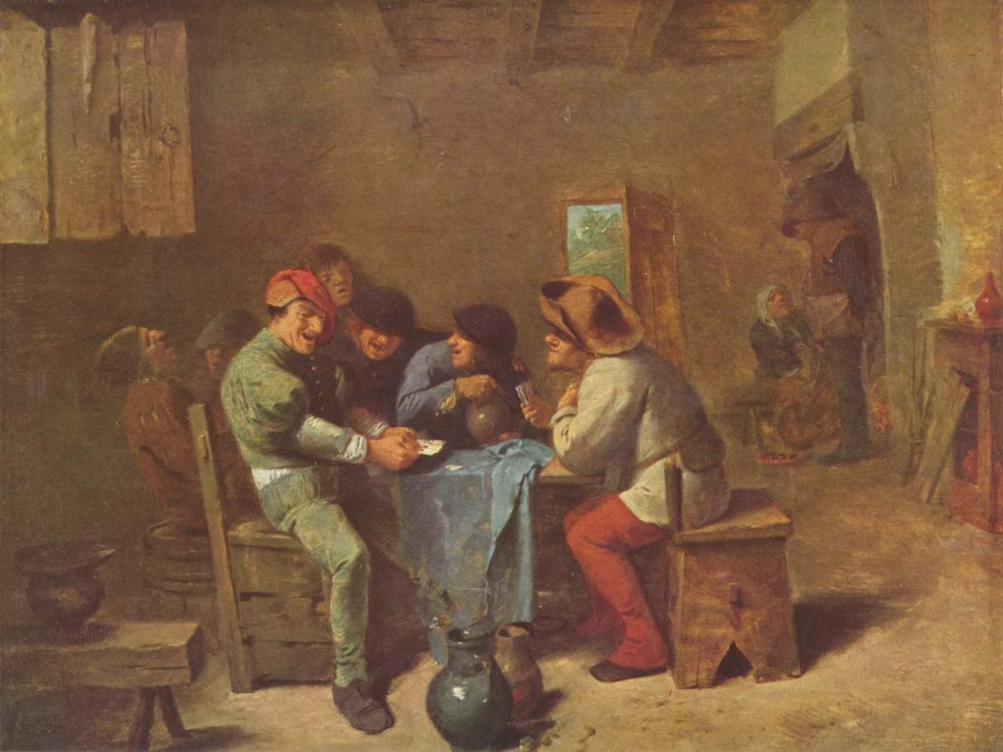 Крестьяне играют в карты в трактире, Браувер Адриан