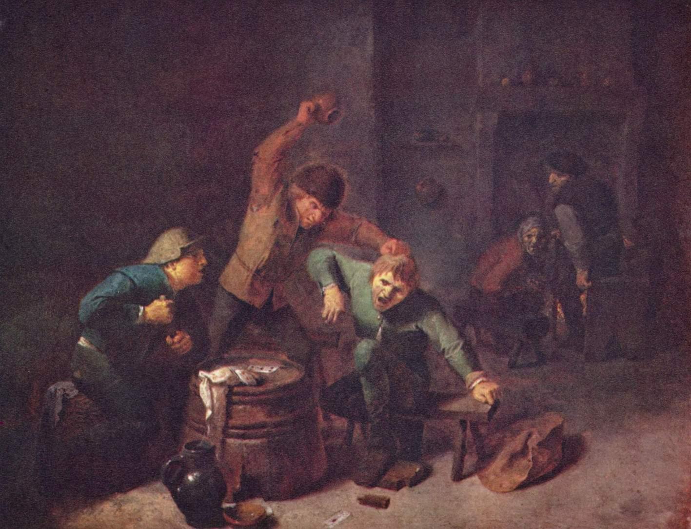 Драка крестьян за карточной игрой, Браувер Адриан