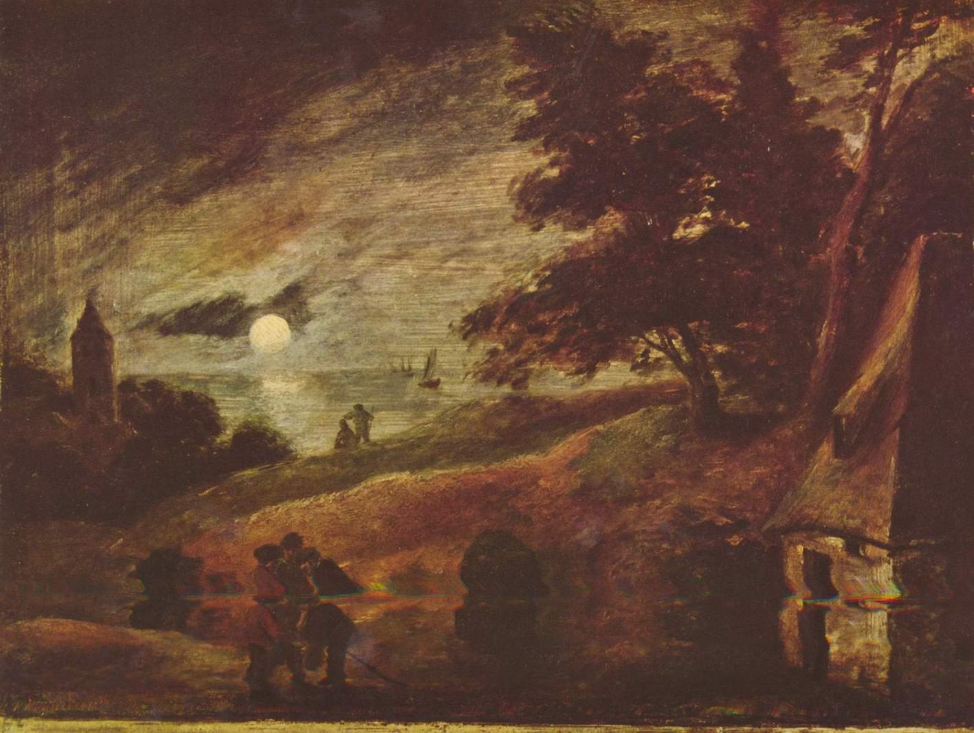 Пейзаж при лунном свете, Браувер Адриан