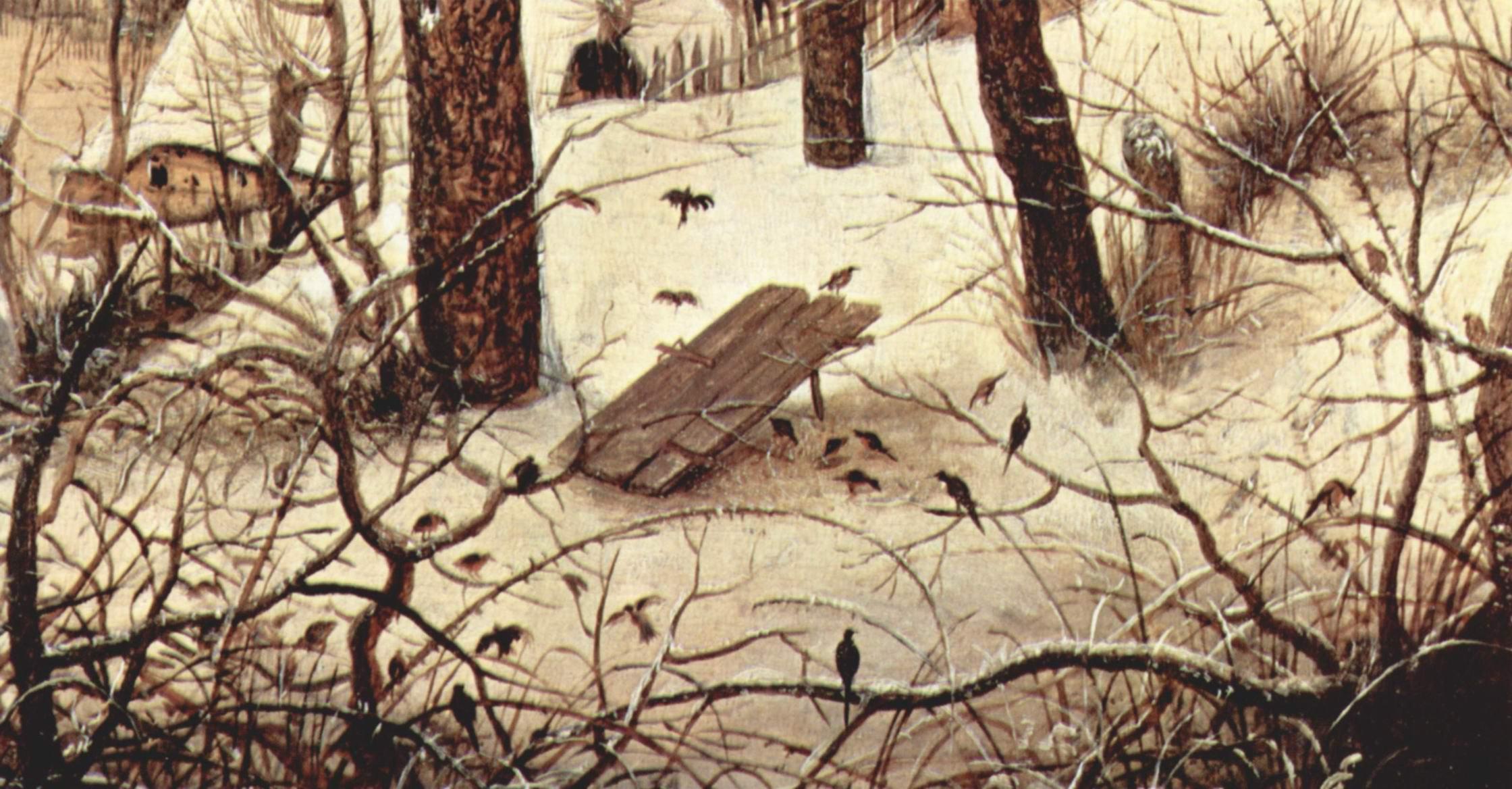 Зимний пейзаж с конькобежцами и ловушкой для птиц. Деталь, Брейгель Питер