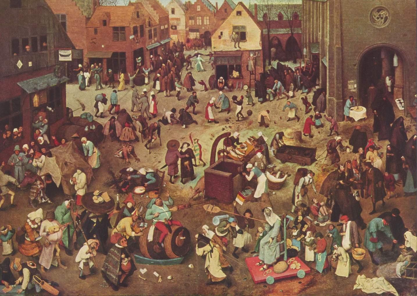 Серия так называемых лубочных картин, битва Великого Поста и Масленицы, Брейгель Питер