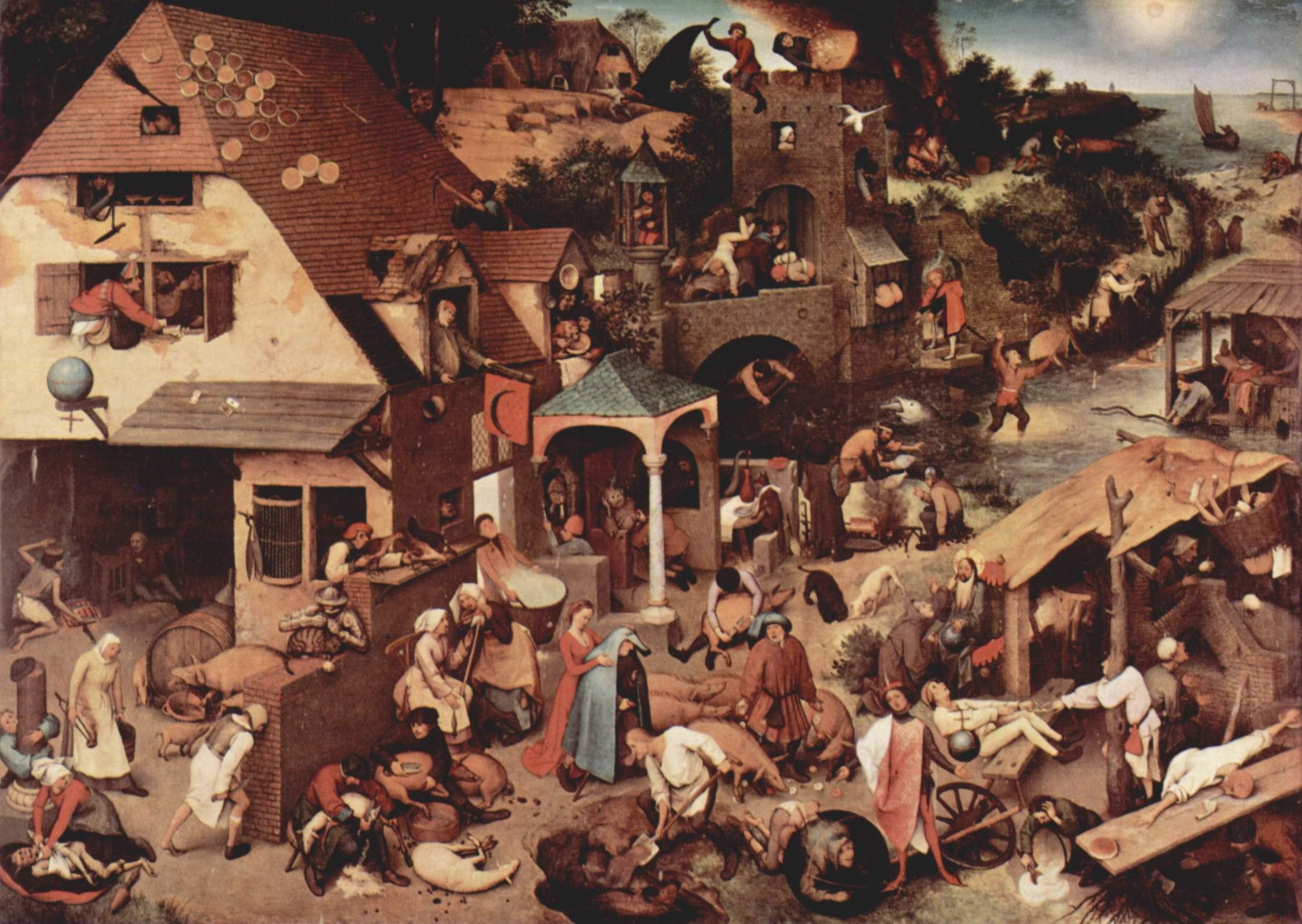 Серия так называемых лубочных картин, нидерландские пословицы, Брейгель Питер
