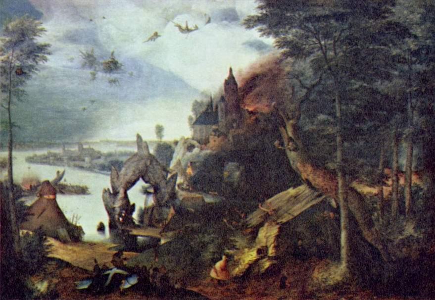 Пейзаж и искушение св. Антония, Брейгель Питер