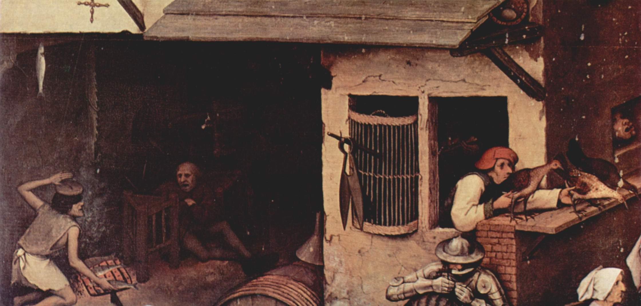 Серия так называемых лубочных картин, нидерландские пословицы. Деталь, Брейгель Питер