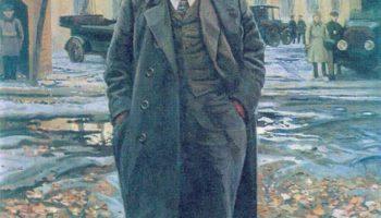 В. И. Ленин на фоне Смольного