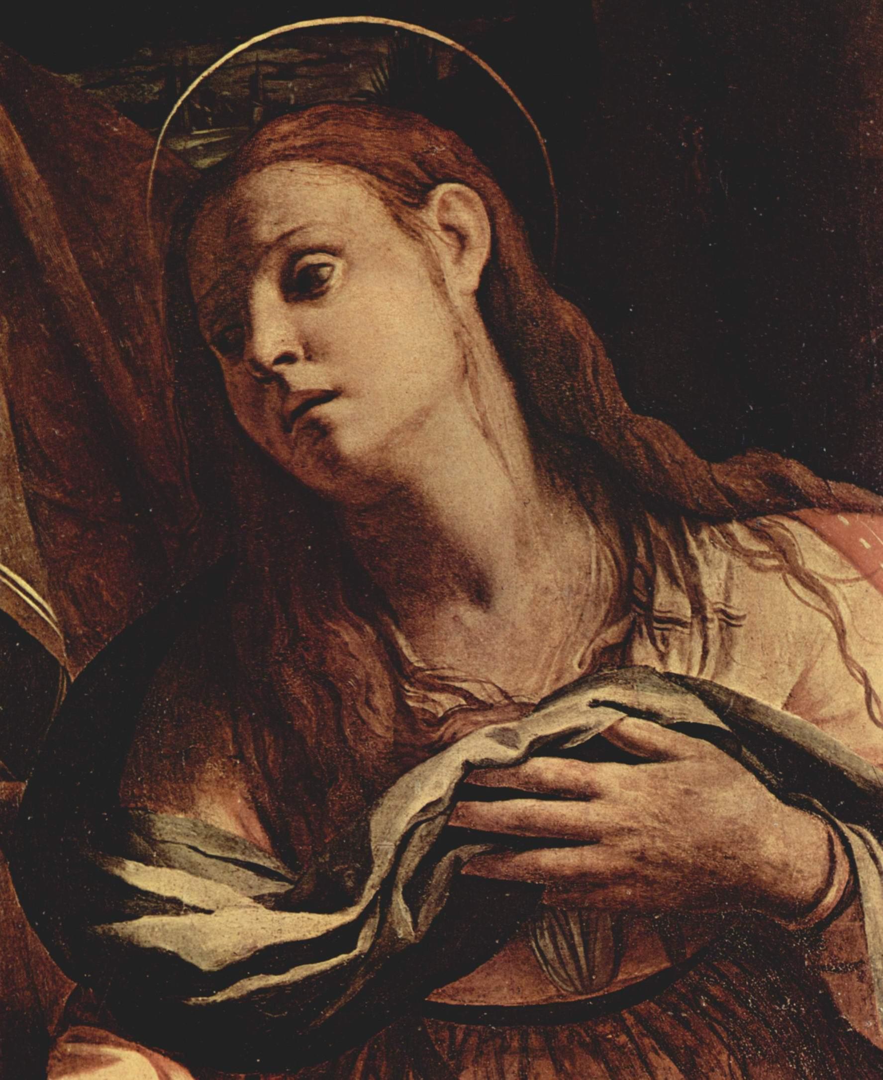 Пьета или Оплакивание, Умерший Христос, Мария и Мария Магдалина. Деталь  Мария Магдалина, Бронзино Аньоло
