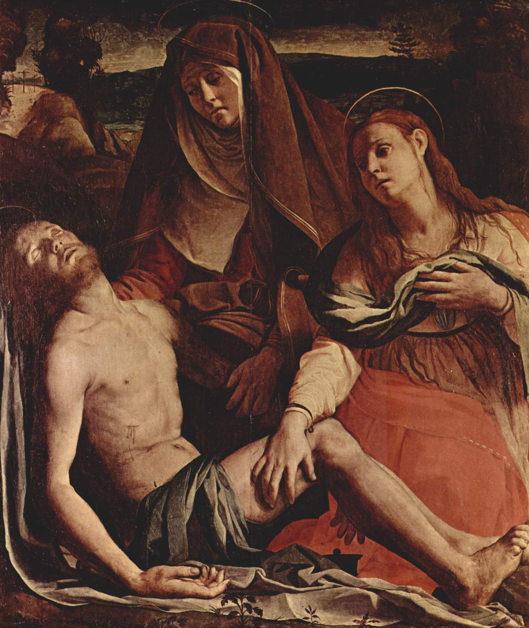 Пьета или Оплакивание, Умерший Христос, Мария и Мария Магдалина, Бронзино Аньоло