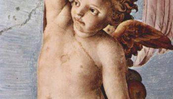 Фрески капеллы Элеоноры Толедской в Палаццо Веккио во Флоренции, фреска на потолке. Деталь  гирлянда с ангелами