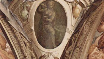 Фрески капеллы Элеоноры Толедской в Палаццо Веккио во Флоренции, медальоны, сцены  аллегории добродетелей кардинала. Деталь  Юстиция