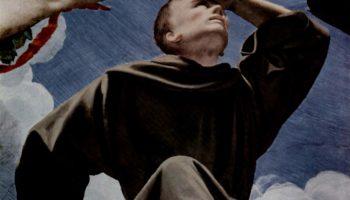 Фрески капеллы Элеоноры Толедской в Палаццо Веккио во Флоренции, фреска на потолке. Деталь  Фра Леоне, спутник св. Франциска