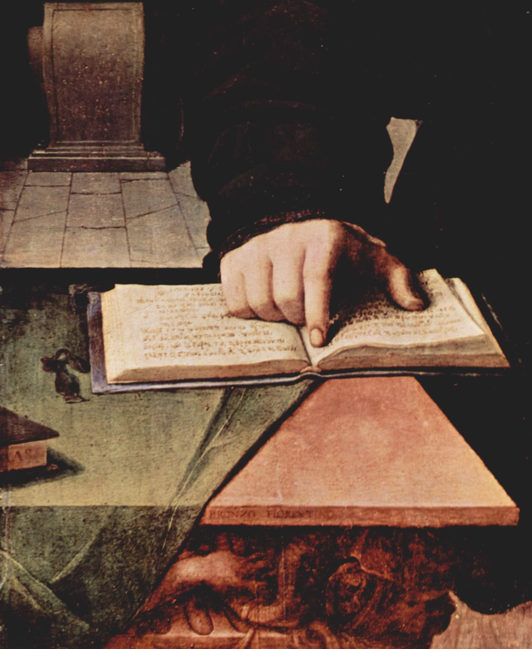 Портрет Уголино Мартелли. Деталь  рука на раскрытой книге, Бронзино Аньоло