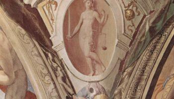 Фрески капеллы Элеоноры Толедской в Палаццо Веккио во Флоренции, медальоны, сцены  аллегории добродетелей кардинала. Деталь