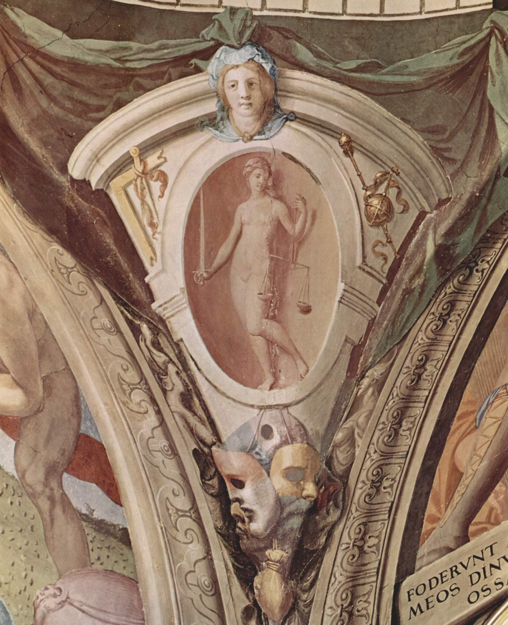 Фрески капеллы Элеоноры Толедской в Палаццо Веккио во Флоренции, медальоны, сцены  аллегории добродетелей кардинала. Деталь, Бронзино Аньоло