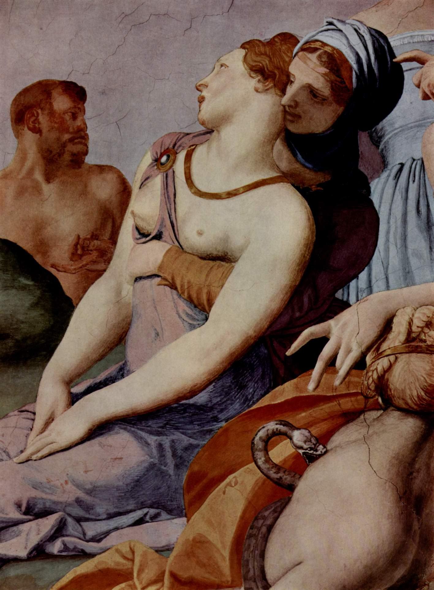 Фрески капеллы Элеоноры Толедской в Палаццо Веккио во Флоренции, стена у входа  поклонение кресту с бронзовой змеёй. Деталь, Бронзино Аньоло