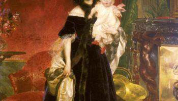 Портрет М. А. Бек с дочерью