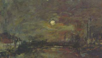 Сумерки над гаванью в Гавре