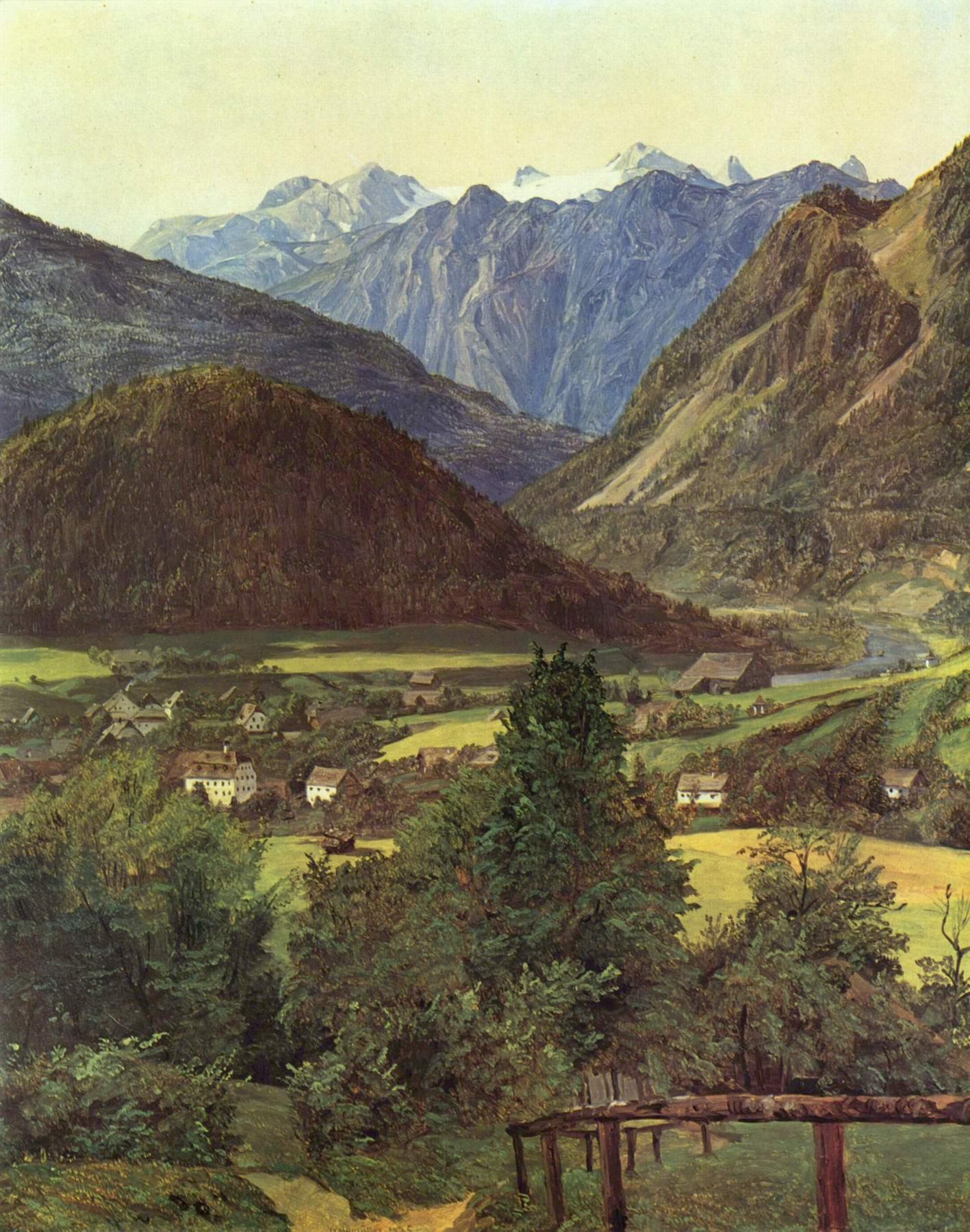 Вид на Дахштайн с Зофиенплатц, Вальдмюллер Фердинанд Георг