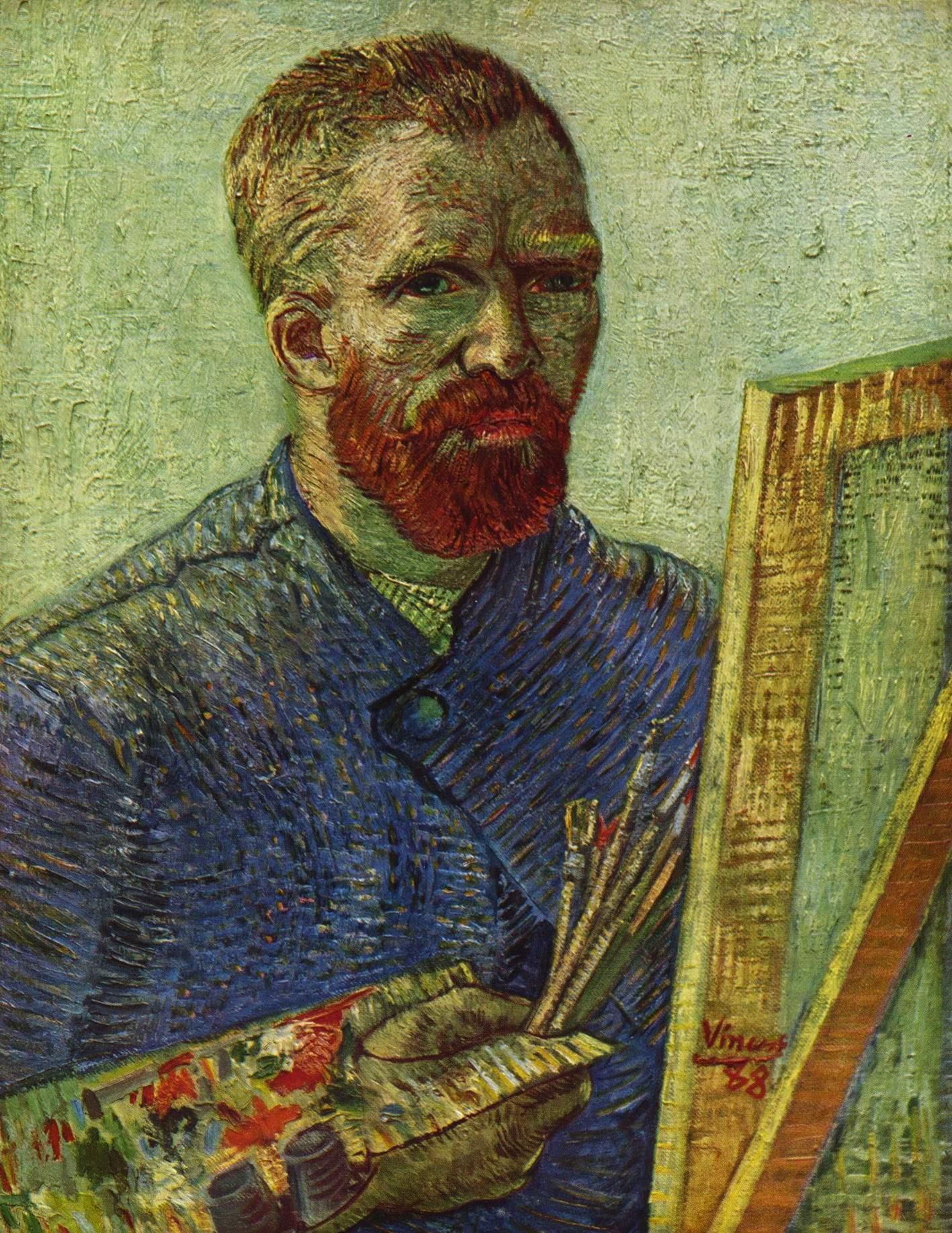 Автопортрет перед мольбертом, Ван Гог Винсент Виллем