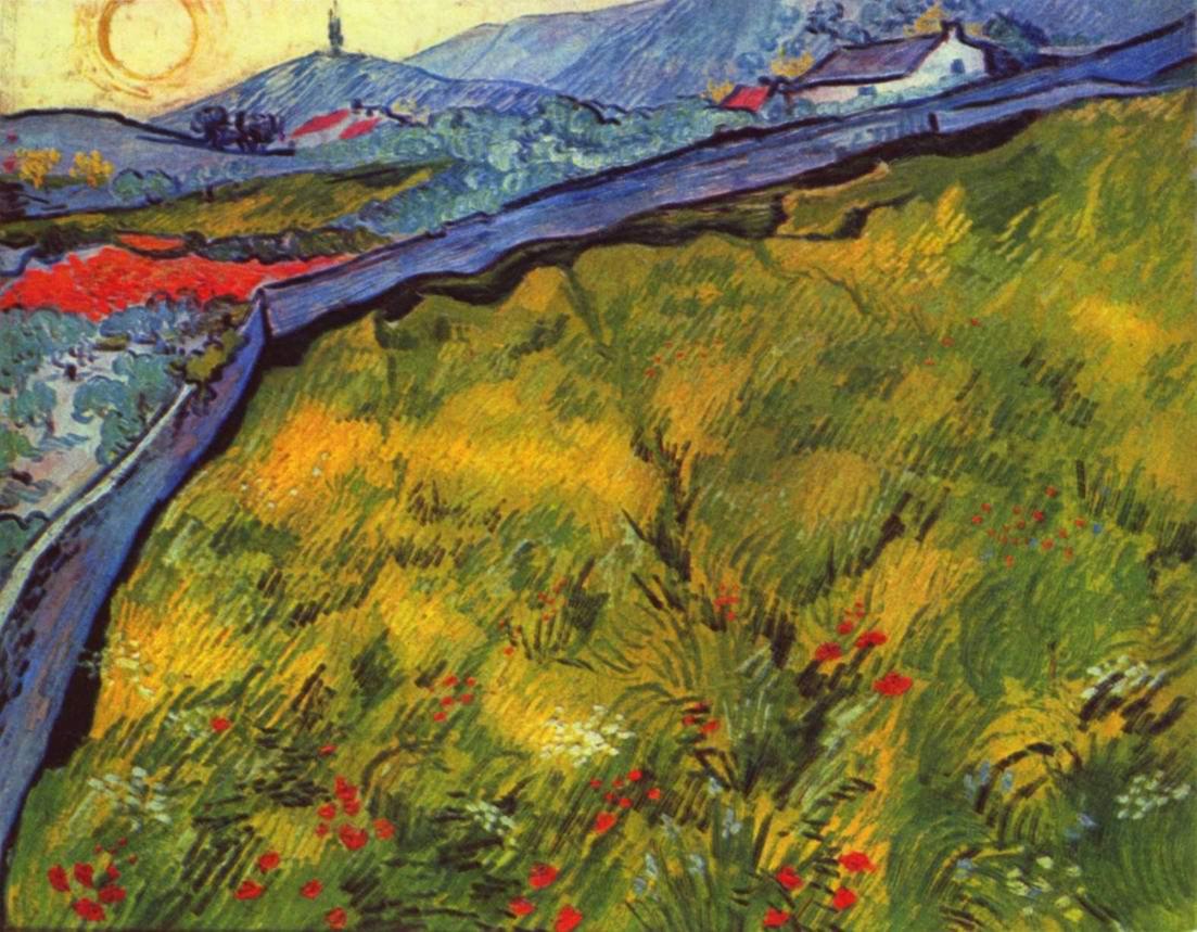 Горный пейзаж на закате с огороженным лугом, Ван Гог Винсент Виллем