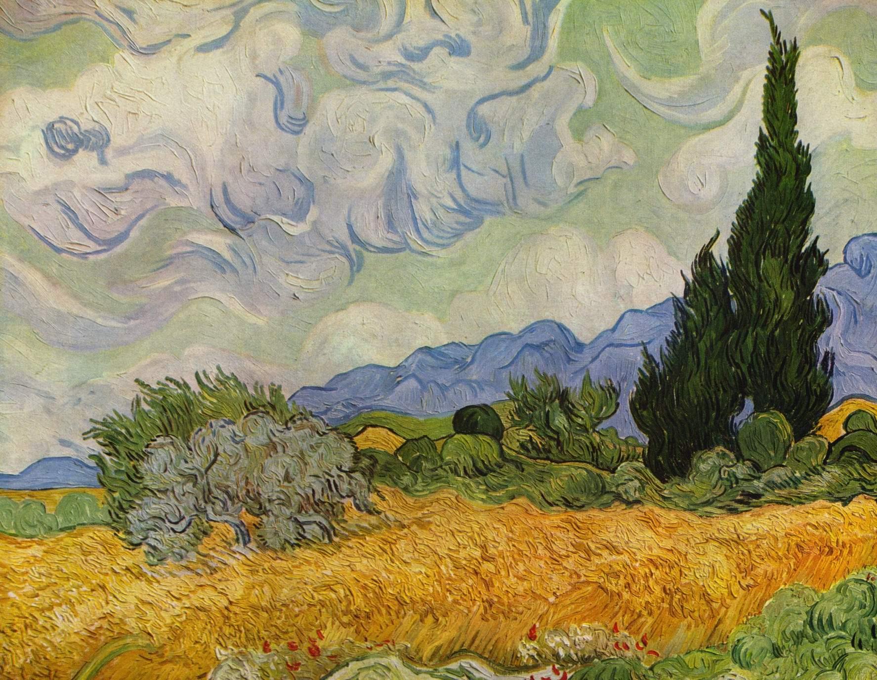 Пшеничное поле с кипарисами, Ван Гог Винсент Виллем