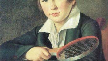 Портрет Н. А. Томилова в детстве, с ракеткой для игры в волан