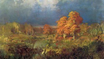 Болото в лесу. Осень