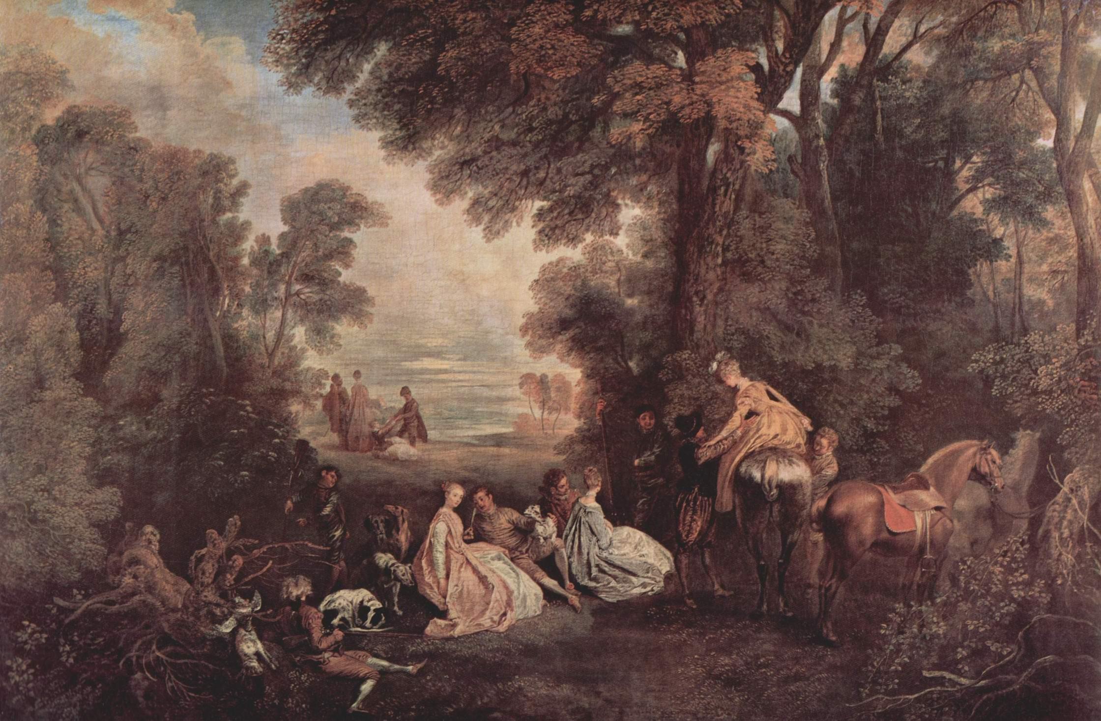 Общество, собирающееся на охоту, Ватто Антуан