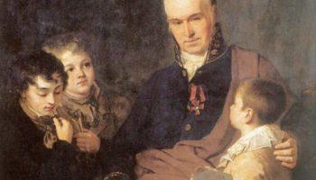 Портрет Кирилла Ивановича Головачевского, инспектора Академии художеств, с тремя воспитанниками