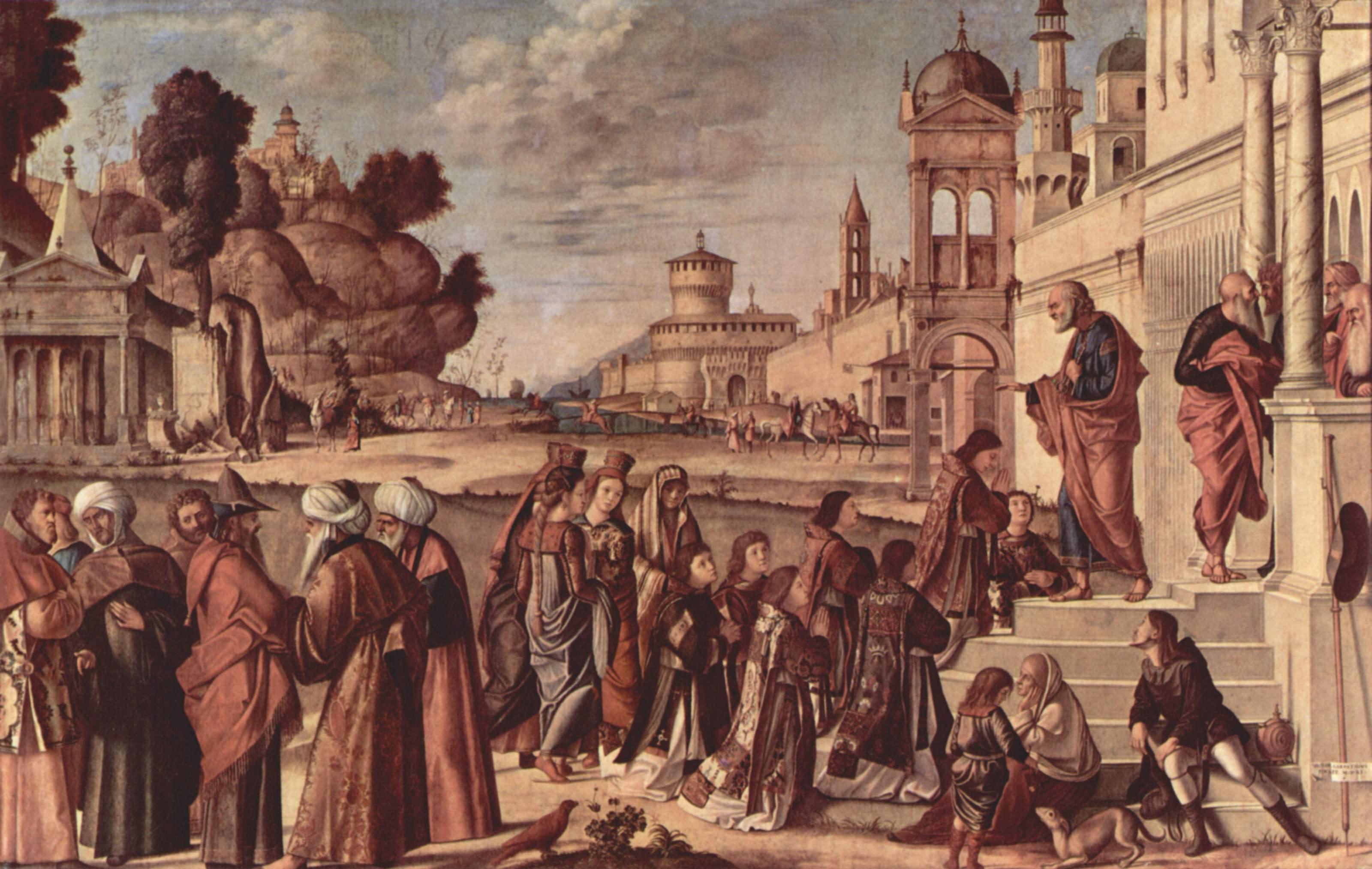 Цикл картин к житию св. Стефана, благословление св. Стефана, Витторе Карпаччо