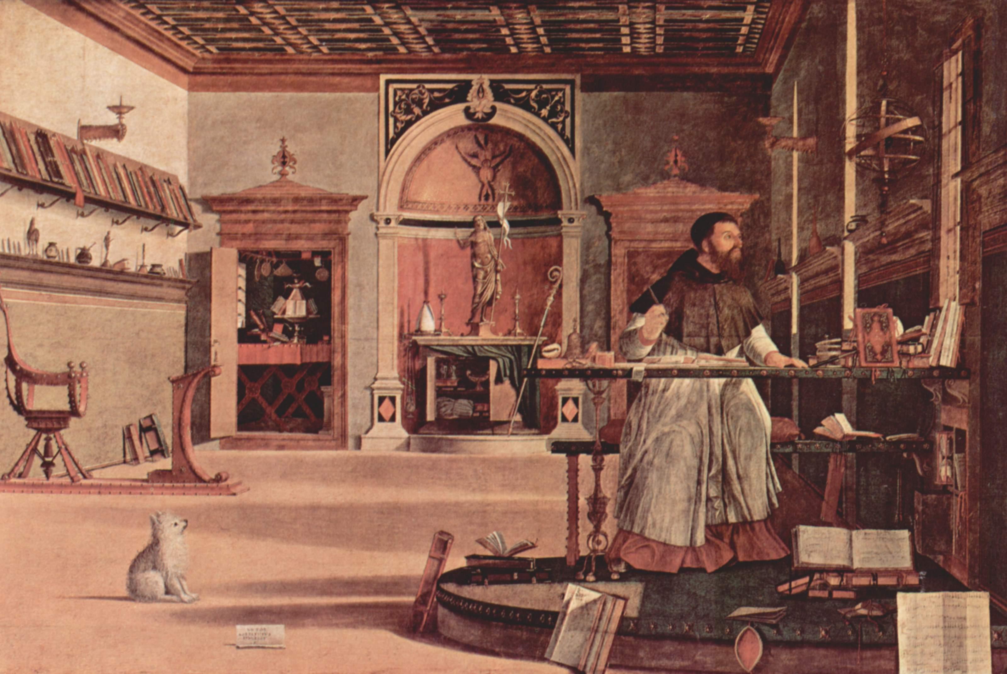 Цикл картин капеллы Скуола ди Сан Джорджио Скьявони, видение св. Августина, Витторе Карпаччо