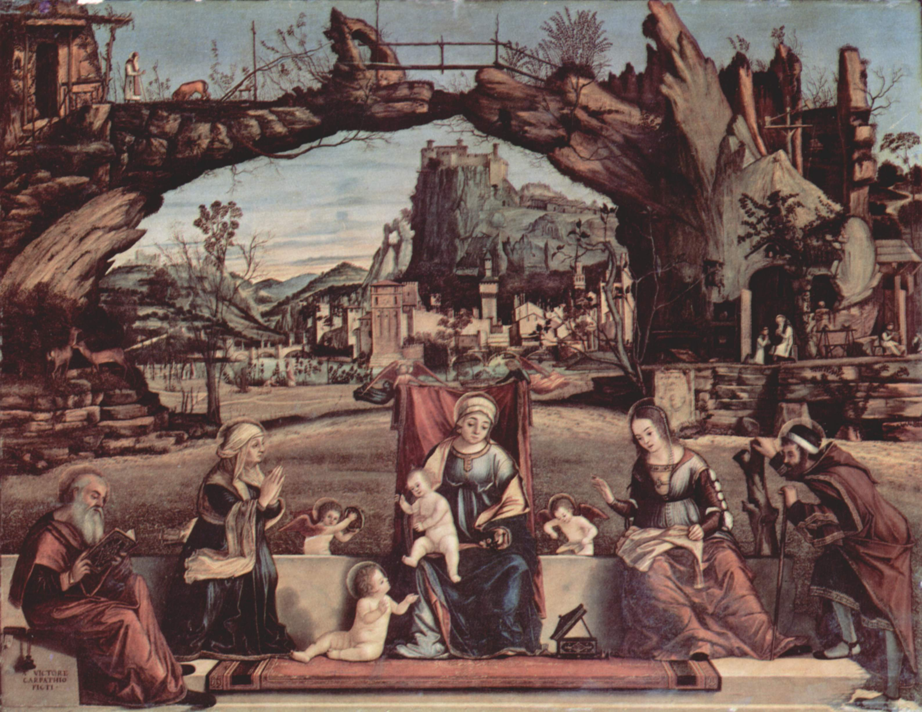 Мадонна на троне и Иоанн Креститель, слева  св. Иосиф и св. Анна, справа  св. Елизавета и св. Захари, Витторе Карпаччо