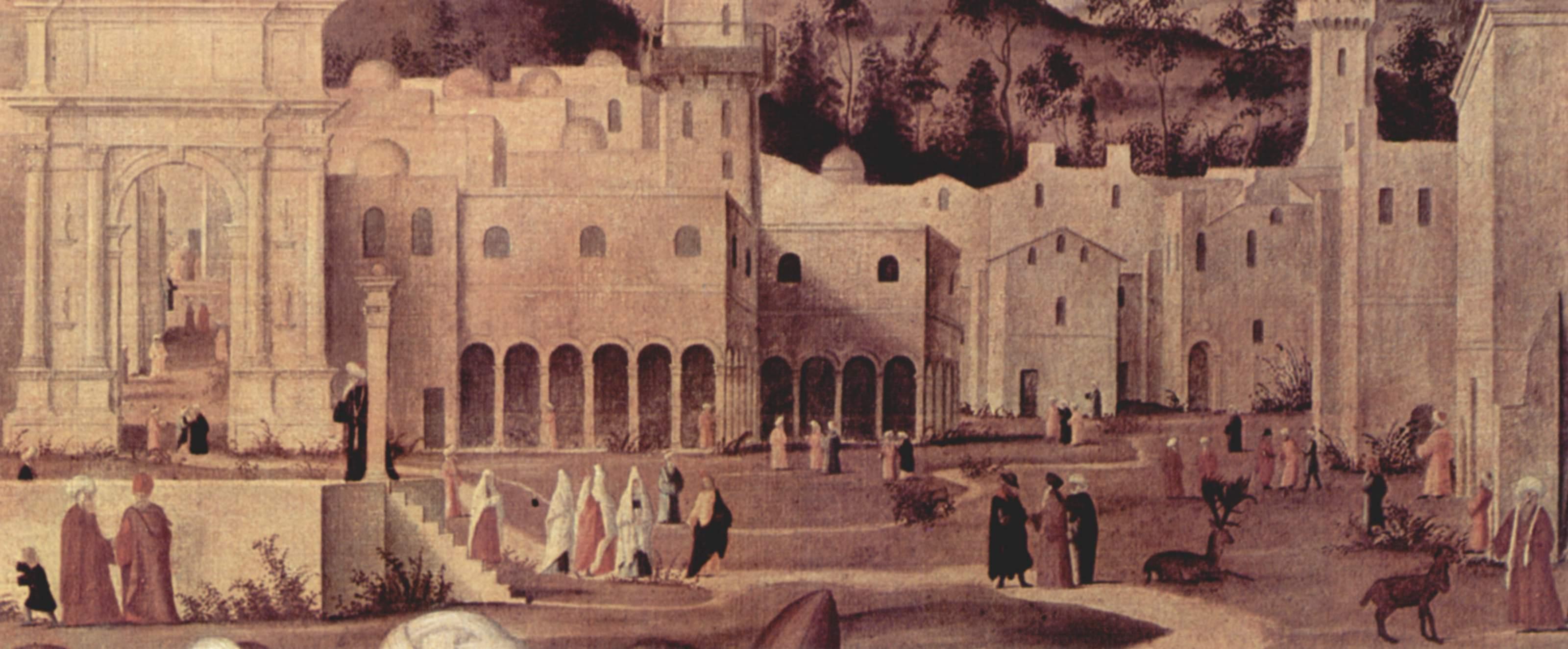 Цикл картин к житию св. Стефана, проповедь св. Стефана перед воротами Иерусалима. Деталь, Витторе Карпаччо