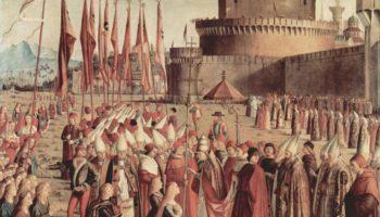 Прибытие паломников в Кельн и встреча с Папой Римским. Сцена из жизни Святой Урсулы