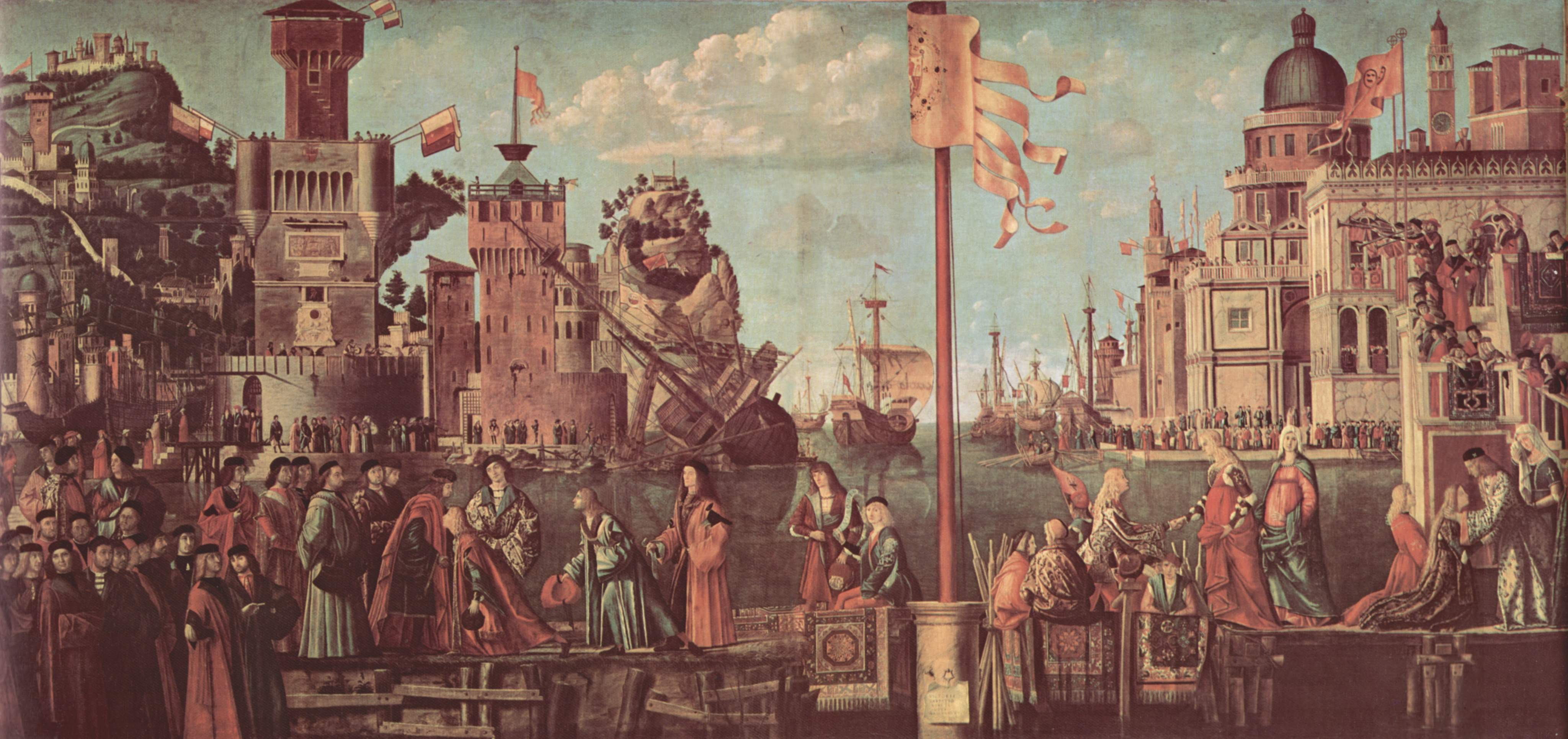 Цикл картин к житию св. Урсулы, встреча обручённых и начало паломничества, Витторе Карпаччо