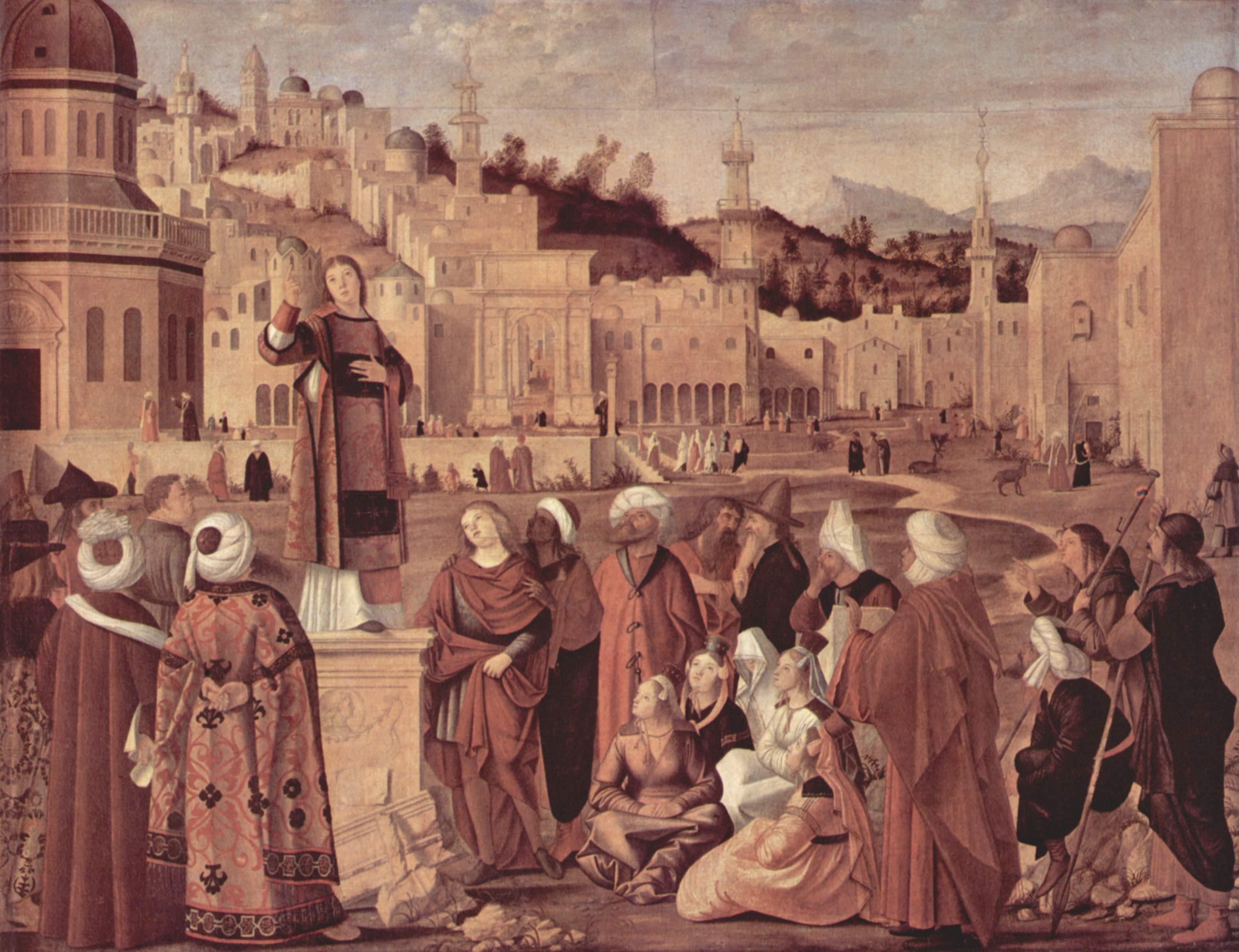 Цикл картин к житию св. Стефана, проповедь св. Стефана перед воротами Иерусалима, Витторе Карпаччо
